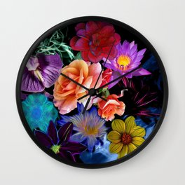 Colorful Fractal Flowers Wall Clock