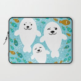 happy family of white seals and fish on a blue background. Laptop Sleeve