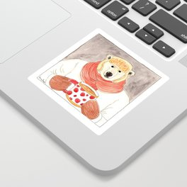 Polar Bear Drinking Hot Chocolate Sticker