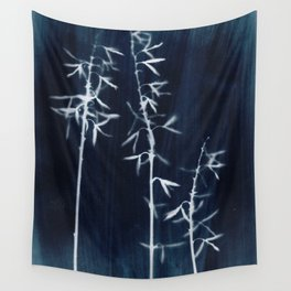 Indigo Hosta Botanical Cyanotype Wall Tapestry