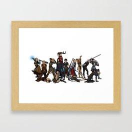 Strong female pose - Dragon Age group Framed Art Print