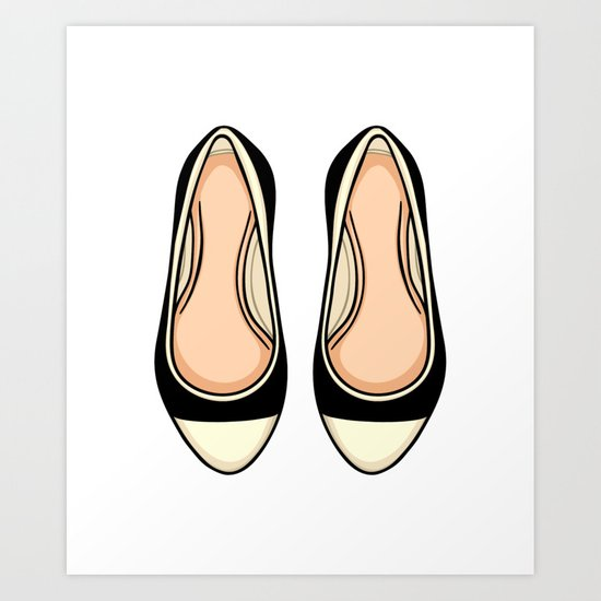 Beige And Black Ballet Flat Shoes Art Print