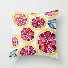 Sliced Grapefruits Watercolor Throw Pillow