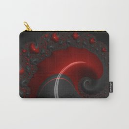 Black Red Goth Gothic Elegant Spiral Decorative Ornate Abstract Fractal Digital Graphic Art Design Carry-All Pouch
