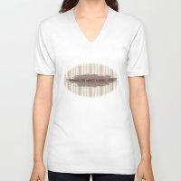 baseball V-neck T-shirts featuring Baseball by Denise Zavagno