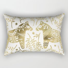 Swedish Dala Horses – Gold Palette Rectangular Pillow