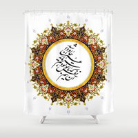 calligraphy Shower Curtains featuring Persian Calligraphy by BeyondPersia