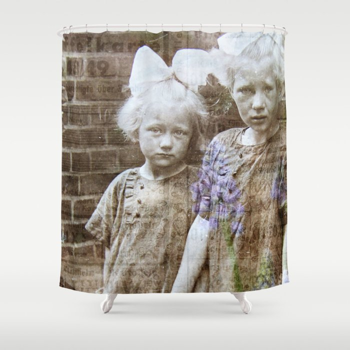 sisters vintage shower curtain