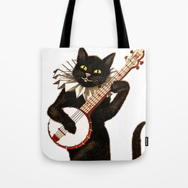 Cat playing a banjo Tote Bag