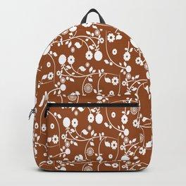 Brown Floral Pattern Backpack