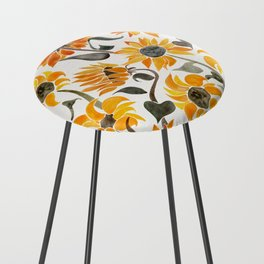 Sunflower Watercolor – Yellow & Black Palette Counter Stool