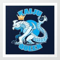 kaiju Art Prints featuring kaiju queen by Amanda Lien