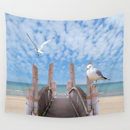Dock on Beach with Seagulls A340 Wall Tapestry