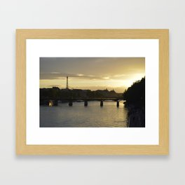 Sunset in Paris with a view of the Eiffel Tower Framed Art Print