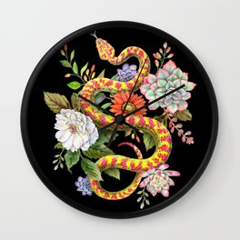 Snake and Succulents #63 Wall Clock