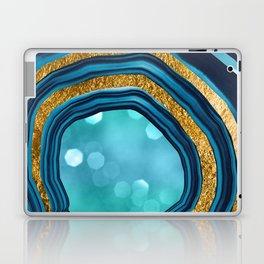Agate Aqua Blue Gold #1 #abstract #shiny #decor #art #society6 Laptop & iPad Skin