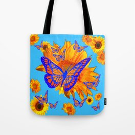 BABY BLUE COLOR & BLUE-GOLD MONARCH BUTTERFLIES Tote Bag