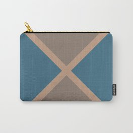 Brown Blue Minimal Diagonal Line Pattern 2021 Color of the Year Canyon Dusk & Accent Shades Carry-All Pouch