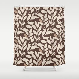 Leaves and Branches in Cream and Brown Shower Curtain