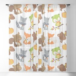 Woodland Animals, Bear, Squirrel, Fox, Owl, Raccoon Sheer Curtain
