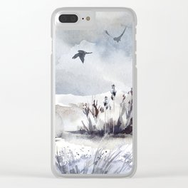 Soaring Above Sandy Beaches Against Stormy Skies Clear iPhone Case