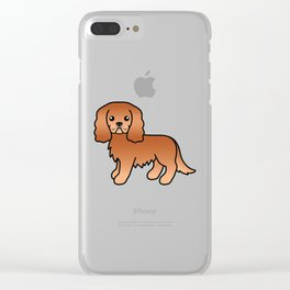 Cute Ruby Cavalier King Charles Spaniel Dog Cartoon Illustration Clear iPhone Case