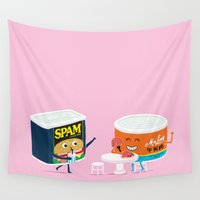 meat Wall Tapestries featuring Nice to Meat You by mogumogu