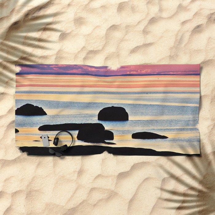 Painted Seas at Dusk Beach Towel