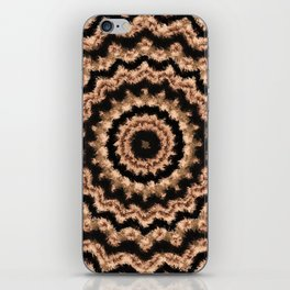 Kaleidoscope Beige Circular Pattern on Black iPhone Skin