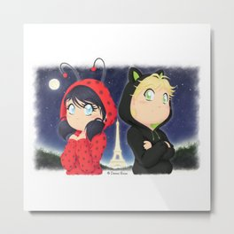 Chibi Marinette and Adrien Metal Print