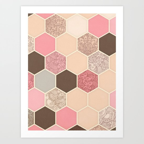 Caramel, Cocoa, Strawberry & Cream Hexagon & Doodle Pattern Art Print