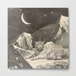 Giant White Tiger in Mountains Metal Print