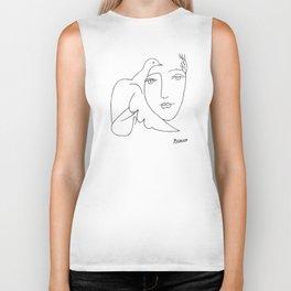 Pablo Picasso Peace (Dove and Face) T Shirt, Sketch Artwork Biker Tank