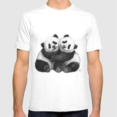 Panda's Hugs G143 MEDIUM White Mens Fitted Tee