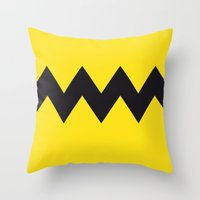 charlie brown Throw Pillows featuring Charlie Brown by Zhi-Yun