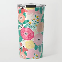 Modern brush paint abstract floral paint Travel Mug