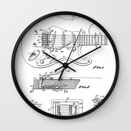 Guitar Tremelo Patent - Guitarist Art - Black And White Wall Clock