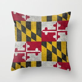 State flag of Flag of Maryland, Vintage retro style Throw Pillow
