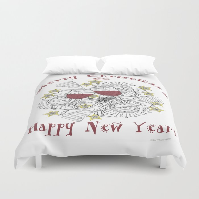 Merry Christmas & Happy New Year - Zentangle Illustration Duvet Cover