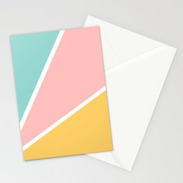 Tropical summer pastel pink turquoise yellow color block geometric pattern Stationery Cards