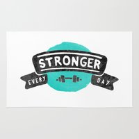 crossfit Area & Throw Rugs featuring Stronger Every Day (dumbbell) by Lionheart Art