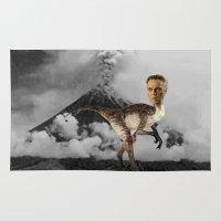 christopher walken Area & Throw Rugs featuring ChristopheRAPTOR Walken - Christopher Walken Velociraptor by Kalynn Burke