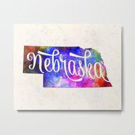 Nebraska US State in watercolor text cut out Metal Print
