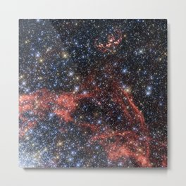 Death of a Star - Red Wispy Remains of Giant Supernova Metal Print