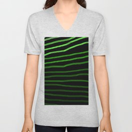 Shaded Green Hand-Drawn Lines Unisex V-Neck
