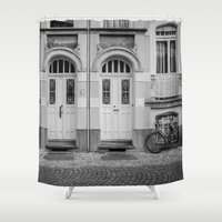 house Shower Curtains featuring House by Laura Arroyo