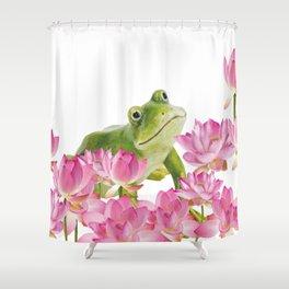Lotos - Lotus Flower Frog Illustration Shower Curtain