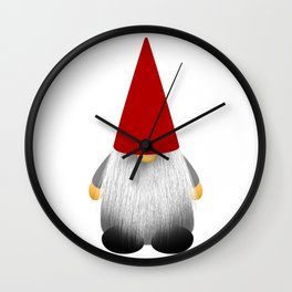 Christmas cute gnome with long white beard and red hat Wall Clock