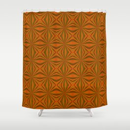 Autumnal Leaves Red Green and Amber Pattern Shower Curtain