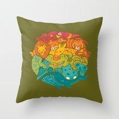 Animal Rainbow - olive Throw Pillow